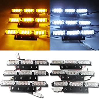 amber white 54 led emergency warning strobe light bar. Black Bedroom Furniture Sets. Home Design Ideas
