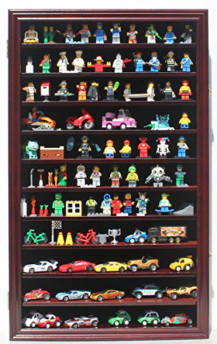 Minifigures Miniature Action Figures Display Case Wall Curio Cabinet, HW11-MAH