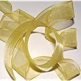 Mveezz-Gold-3 Meters Organza Ribbon Sheer For Weddings,Favour Boxes & Crafts Top Quality 20Mm UK Seller