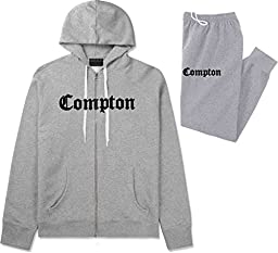 Kings Of NY Compton California Mens Sweat Suit Hoodie Pants Grey Small