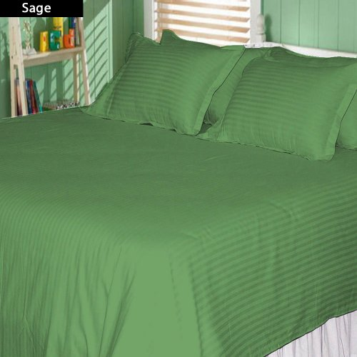 "500 Thread Count 100% Egyptian Cotton Stripe Sage Twin Xxl 25"" Deep Pocket Sheet Set front-881996"