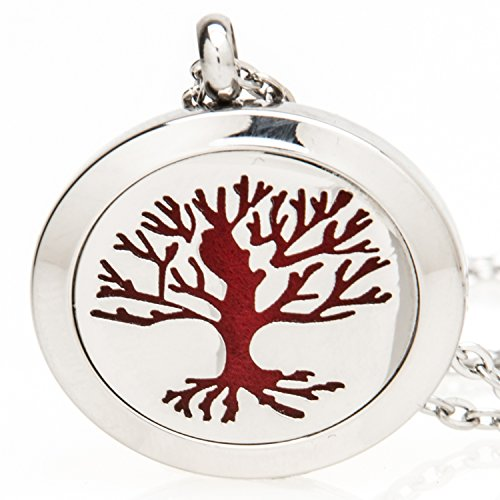 Essential-Oil-Diffuser-Necklace-Locket-for-Aromatherapy-Stainless-Steel-Hypo-Allergenic-10-Mesh-Pads-Tree-of-Life