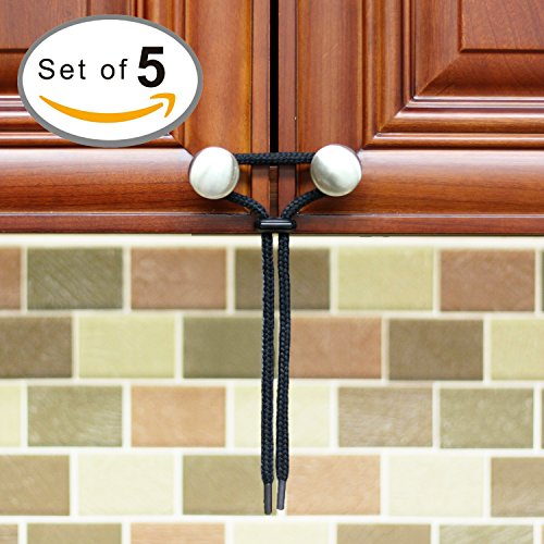 Baby Proofing Cabinet Latch [5-Pack] Eco-Friendly kit for Child Proof Home Safety - Universal fit works on any Knob, Lock, Gate, Drawer or Cabinet - Perfect for RV and Boat Storage Solutions - Black (Childproof Cabinet Locks compare prices)
