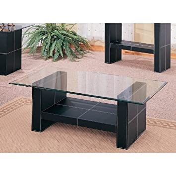 Bonded Leather Coffee Table With Glass Top