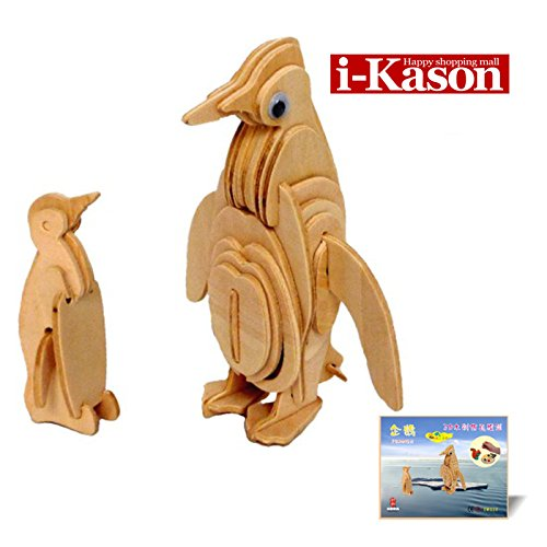Authentic High Quality i-Kason® New Favorable Imaginative DIY 3D Simulation Model Wooden Puzzle Kit for Children and Adults Artistic Wooden Toys for Children - Penguin - 1