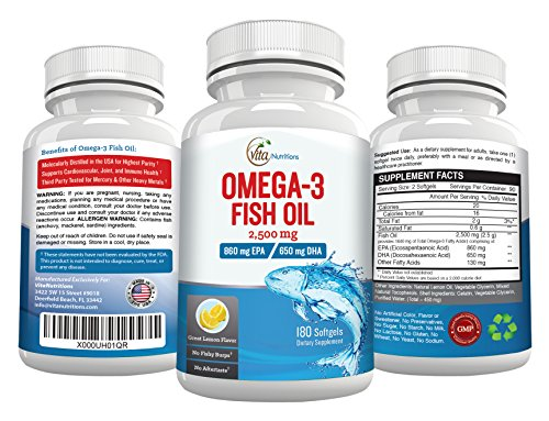 2500mg omega 3 fish oil high in epa dha 860mg 650mg for High dha fish oil