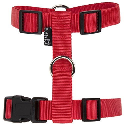 bunty-adjustable-nylon-dog-puppy-fabric-harness-vest-anti-non-pull-lead-leash-red-small