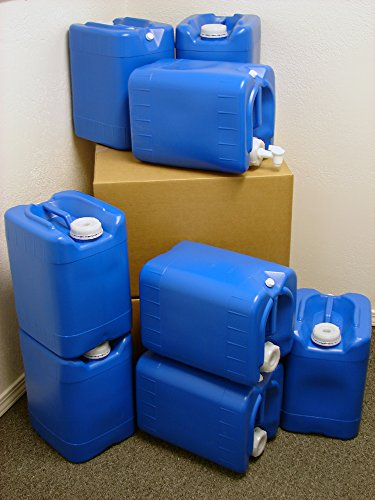 5 Gallon Samson Stackers, Blue, 8 Pack (40 Gallons), Emergency Water Storage Kit - New! - Boxed! Includes 1 Spigot and Cap Wrench (Jugs With Spigots compare prices)