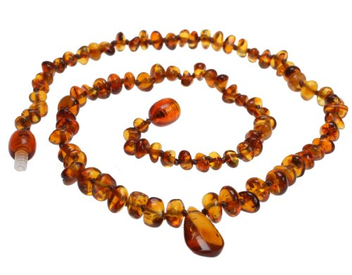 Baltic Amber Necklace Small Size For Baby Or For Adult Choker Cognac Beads With Center Drop Shape Amber Stone Pendant front-200356