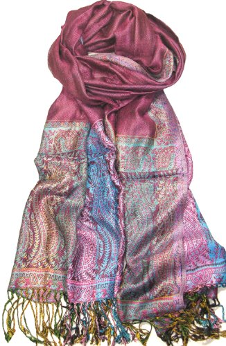 Lovarzi Women's Shawl Wrap/Stole-Gorgeous Paisley Shawl for Women-Available in Red, Pink, Purple, Blue and Black Colours-Lovarzi Pashmina Scarf and Wrap
