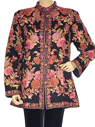 Women Wool Dress Jacket Black Embroidered India