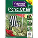 KINGFISHER PICNIC CAMPING BEACH CHAIR FOLDING LIGHTWEIGHT WITH ARMS - PATIOS DECKING