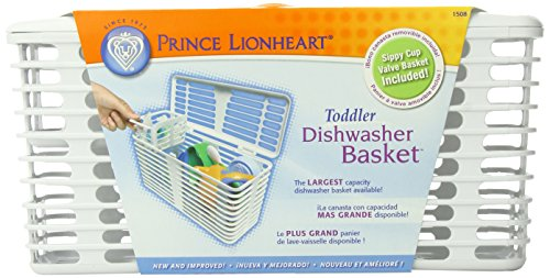 Prince Lionheart 1508 Deluxe Dishwasher Basket, Toddler (White/Orange)