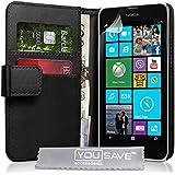 Yousave Accessories Nokia Lumia 630 Tasche PU Leder Brieftasche Hülle schwarz