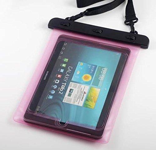 7-10 インチ タブレット用防水ケース 首掛け付き タッチペン セット ipad 2/3/4 Air1/2/ipad mini/ ARROWS Tab/dtab/ASUS/Xperia tablet/Galaxy note10.1 ピンク