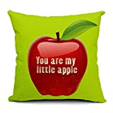 """HomeChoice Cotton Linen Durable Home You Are My Little Apple Square Decorative Throw Pillow Cover Accent Cushion Cover Pillow Shell Bed Pillow Case 18 By 18 Inches (18""""X18"""")"""