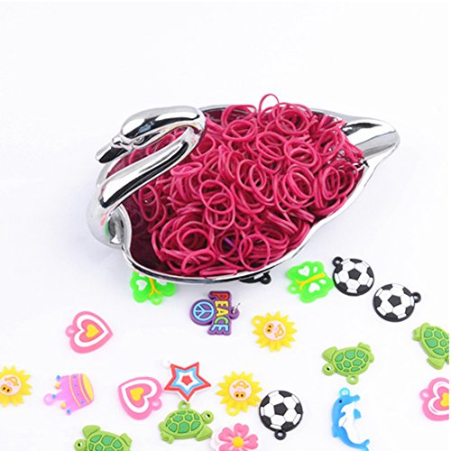RAINSTORM Loom Rubber Bands Accessory Kit Set for Bracelets with S-clips and Plastic Loom Hook/Lead and Latex Free,Safe for Children/20 Beautiful Colors as Pictures and 600pc Rubber Bands for Each Color/Fuchsia