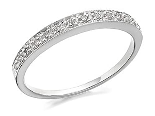 F. Hinds Womens Ladies 9ct White Gold Diamond Half Eternity Ring - 9pts
