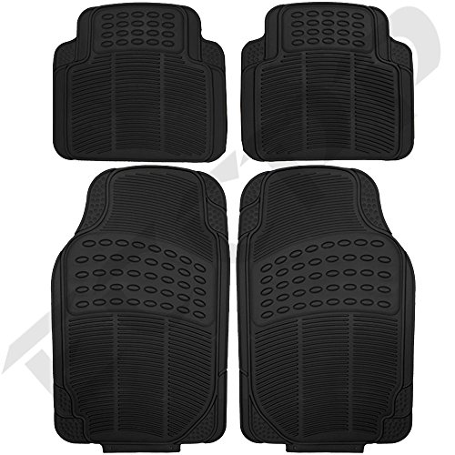 ECCPP® 4pc Full Set Ridged Heavy Duty Rubber Floor Mats, Universal Fit Mat for Car, SUV, Van & Trucks - Front & Rear, Driver & Passenger Seat (Black) (Car Mats Kia Sorento 2015 compare prices)