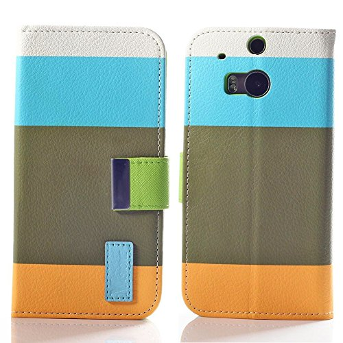 Mylife Earth Green + Sunburst Orange + Sky Blue {Elegant Striped Design} Faux Leather (Card, Cash And Id Holder + Magnetic Closing) Slim Wallet For The All-New Htc One M8 Android Smartphone - Aka, 2Nd Gen Htc One (External Textured Synthetic Leather With