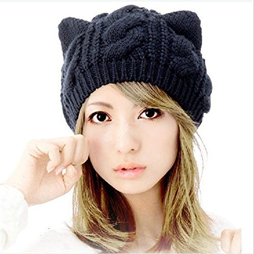 Women's Winter Knit Crochet Braided Cat Ears