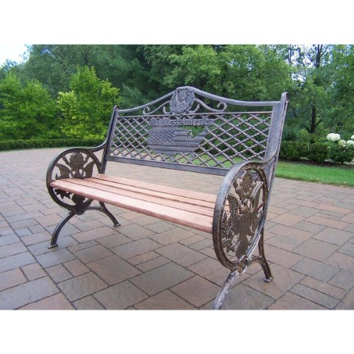 Oakland Living God Bless America Bench, Antique Bronze