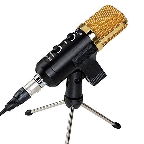 M-Y-Fly-Young-Microphone-Condenser-USB-Recording-Mic-Professional-KTV-PC-With-Butterfly-Clip-Holder-Desktop-Tripod-Stand-5mm-x-3m-Splitter-Cable-and-Foam-Cap-Black-White