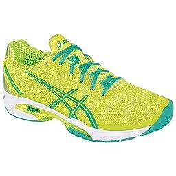 ASICS Women\'s Gel-Solution Speed 2 Tennis Shoe,Flash Yellow/Mint/Sharp Green,10 B(M) US