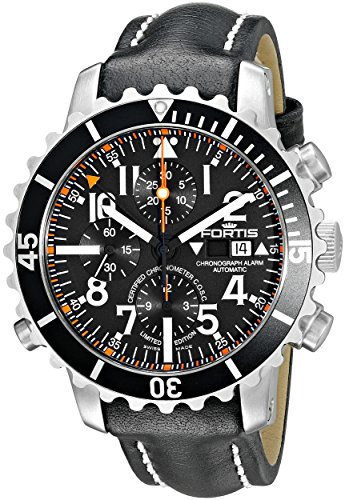Fortis-Mens-6731041-L01-B-42-Marinemaster-Chronograph-Alarm-Chronometer-COSC-Analog-Display-Automatic-Self-Wind-Black-Watch