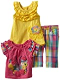 Nannette Baby-girls Infant 3 Piece Butterfly Plaid Capri Pant Set
