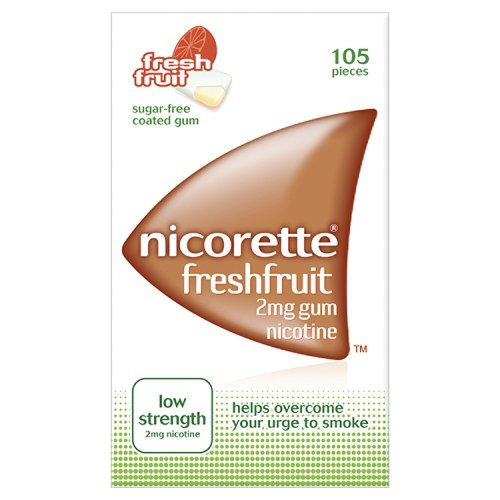 Nicorette Freshfruit Sugar Free Low Strength Chewing Gum To Help Quit Smoking 2mg - 105 Pieces