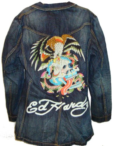 Men's Ed Hardy Denim Jacket Erica Eagle Strikes Available in Several Sizes
