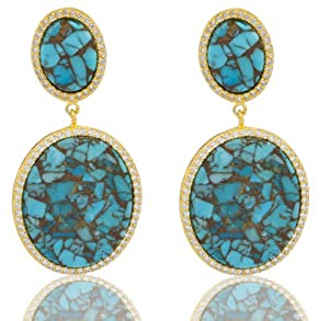 JOTW 925 Sterling Silver Gold Plated Genuine Turquoise 2.5 Inch Stud Earrings