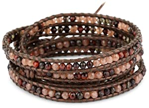 Chan Luu Smokey, Tiger's Eye with Nutmeg Quartz on Leather Bracelet