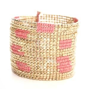 Marc Labat - 13E195 - Ethnic Chic - Bracelet Manchette Femme - Métal doré - Perle - 63 cm