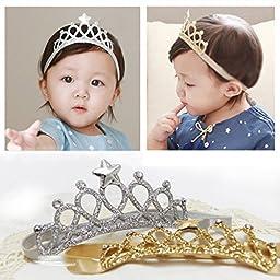 Novolix 2 Colors Baby Girl Crown Headband Shinning Color Princess Head Wrap Elastic Headwear for Birthday