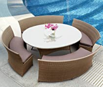 Big Sale Tosh Furniture 5 Piece Brown Outdoor Dining Set