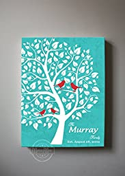 MuralMax - Personalized Unique Family Tree - Stretched Canvas Wall Art - Make Your Wedding & Anniversary Gifts Memorable - Unique Decor - Color - Aqua # 2 - 30-DAY - Size 16x20