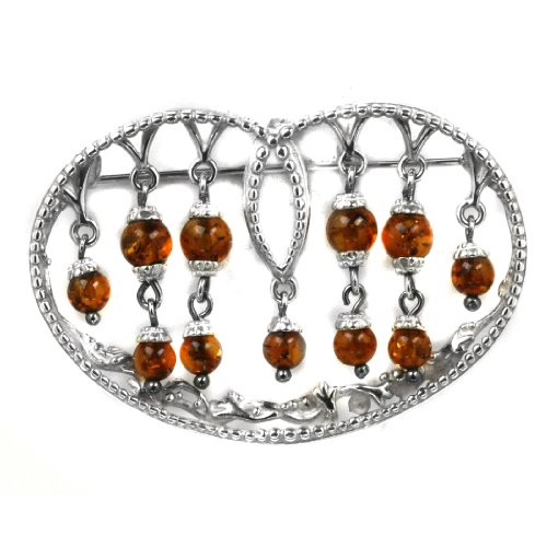 Baltic Cherry Amber Sterling Silver New Age Queen's Heart Pin