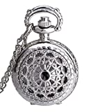 Mudder Hollow Cover Pocket Watch for Women Valentine's Day Gift (Antique Silver)