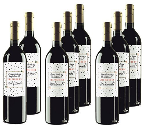 Will You Be My Bridesmaid | Maid of Honor Wine Bottle Labels or Bridesmaid Proposal Box Stickers - Set of 8 - Made in USA
