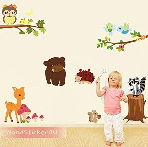 wandsticker4u-frohliche-waldtiere-motiv-braunbar-eulen-waschbar-auf-baum-mit-bambi-igel-eichhornchen