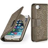 StilGut Talis, Fashion-Serie, Tasche aus Leder mit innenliegenden Fächern für Apple iPhone 5s, Donegal-Tweed / camel brown