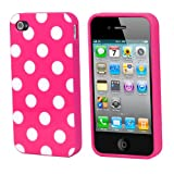 #7: TRIXES Polka Dots Hot Pink Series Soft Gel Case Cover Skin for Apple iPhone 4 4S 4G