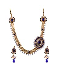 Ganapathy Gems 1 Gram Gold Plated Traditional Necklace Set With Royal Blue Stones.