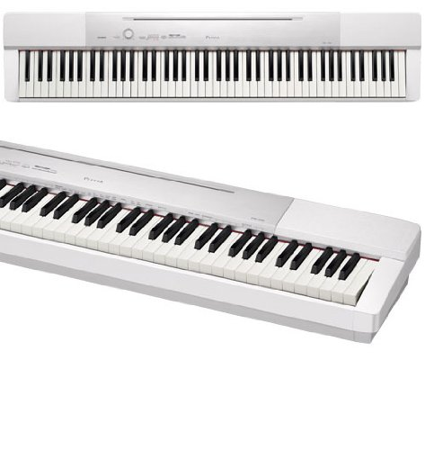 Casio Px150 We 88-Key Touch Sensitive Privia Digital Piano (White) Bundle With Casio Cs-67 Privia Keyboard Stand (White), Casio Sp33 Three-Pedal And Stageline Kb40 Keyboard Bench