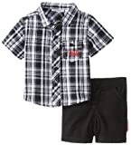 Calvin Klein Baby-Boys Newborn and Plaided Shirt with Short