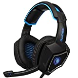 2016 New SADES Spirit Wolf 3.5mm Wired Stereo Gaming Headset Headband Headphones with Microphone Deep Bass Over-the-Ear Noise Isolating Volume Control LED Lights For PC Gamers (Black Blue)