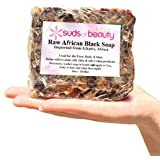 #1 Best African Black Soap, Raw Black Soap Bar from Ghana, Love It Or Your Money Back! 1lb Bulk Pure Authentic African Black Soap For Acne, Wrinkles, Anti-Aging, Natural Skin Cleanser - Suds of Beauty