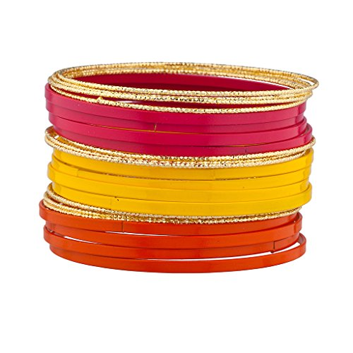 lux-accesorios-purpura-rojo-amarillo-esmalte-de-textura-multiples-bangle-set